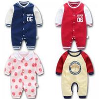 bebek sıcak bodysuit toptan satış-Bebek Karikatür Pamuk Romper Bebek Bebek Bodysuit Yumuşak Tulum Kıyafet Sıcak Sonbahar Kış Ilmek Kapşonlu Elbise LLA182