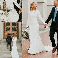 krepp langes hülsenhochzeitskleid großhandel-2019 neue Crepe Mermaid Modest Brautkleider mit langen Ärmeln U-Boot-Ausschnitt Einfache elegante Frauen LDS Modest Brautkleider nach Maß