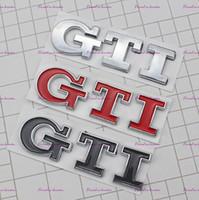 vw golf gti al por mayor-Etiqueta engomada del tronco de la etiqueta del emblema del logotipo de GTI 3D para VW Volkswagen Jetta Polo Golf 6 7