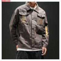 männer übergroße kleidung großhandel-Dropshipping Men Casual Baggy Kapuzenfracht Jacken 2019 Herbst Mens-Taschen-Overalls Jacke verursachendes Maxi-Male Kleidung