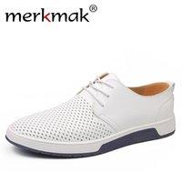 ingrosso buco di scarpe in pelle uomo-Merkmak estate di marca degli uomini casuali di cuoio moda scarpe traspiranti buchi bianchi per il tempo libero Scarpe Flats Big Size 37-48 driver