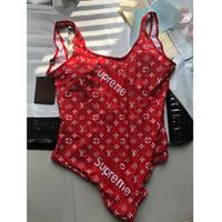 ingrosso rosso bikini un pezzo-Sexy Red Backless Girl Bikini Costume da bagno Moda Lettera stampato Bikini One Piece Traspirante Soft Beach Wear Costume da bagno per donna