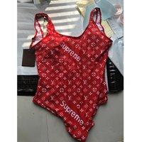 sexy rote badeanzüge großhandel-Sexy Red Backless Mädchen Bikini Badeanzug Mode Brief Gedruckt Einteiliger Bikini Sommer Atmungsaktive Weiche Strand Tragen Badeanzug für Frauen