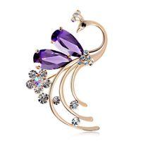 venta de broches de china al por mayor-2018 nueva venta caliente de joyería de moda brillante Zircon Phoenix Peacock broches de cristales estilo chino folk-custom