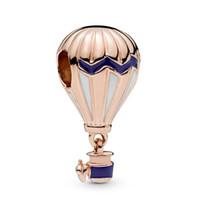 balloon jewelry venda por atacado-New Original 925 Sterling Silver Beads Rose Banhado A Ouro Balão De Ar Quente Charme Fit Pandora Mulheres Pulseira Colar Diy Jóias