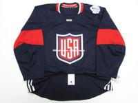 трикотажные изделия для хоккея с шайбой оптовых-Дешевые обычай США хоккей майки NAVY 2016 WORLD CUP OF HOCKEY TEAM ВЫПУЩЕН JERSEY S-5XL