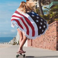 Wholesale towels usa resale online - American Flag Printed Beach Towel USA Flag Round Tassel Soft Beach Towel Polyester Beach Shawl Outdoors Picnic Blankets