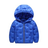 çocuklar için uzun ceket toptan satış-Bebek Boys Aşağı Coat Çocuklar Katı Kapşonlu Uzun Kollu Pamuk ceketler Çocuk Tasarımcı Giyim Kız Kış Sıcak Dış Giyim Bebek Bebek Kar Coat 06