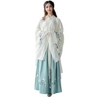trajes de dança oriental venda por atacado-Nova Chegada Hanfu Para As Mulheres Bordado Verde Traje de Dança Tradicional Estágio Desgaste Folk Vestido Oriental Festival Outfit DC1846