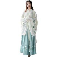 geleneksel kıyafetler toptan satış-Yeni Geliş Hanfu İçin Kadınlar Yeşil Nakış Dans Kostüm Geleneksel Sahne Giyim Halk Elbise Oryantal Festivali Kıyafet DC1846