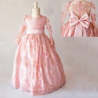 Wholesale fashion wedding dresses baby pink resale online - Fashion Dusty Pink Appliques Lace Back Bow Lovely Flower Girl Dress Custom Made Little Baby Floor Length Chic Formal Party Gowns