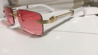 rahmen bambus großhandel-Quadratische Brille Buffalo Horn Kunststoff Glas Holzbein Sonnenbrille Designer Beste Qualität Gold Holz Bambus Randlose Brille mit Box