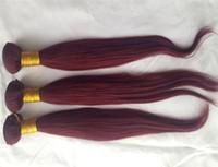 düz kırmızı saç uzantıları toptan satış-Bakire Düz Brezilyalı Saç Örgü Demetleri 100% Insan Saç Örgü 10-30 Inç # 99J Kırmızı Şarap Rengi Remy Saç uzantıları