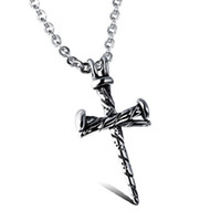 Wholesale mens titanium cross chain for sale - Group buy Cross Pendant Necklaces Vintage Titanium Steel Casting Mens Hip Hop Pendant Nail Necklace Hipster Cross Statement Jewelry Gift DHL