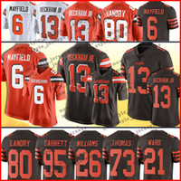 beckham jr jersey toptan satış-6 Baker Mayfield Cleveland 13 Odell Beckham Jr Browns Forması 80 Jarvis Landry 26 Açgözlü Williams 21 Denzel Ward 27 Kareem Hunt