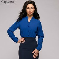 mavi şifon v boyun gömlek toptan satış-Ofis Bayan V Yaka Şifon Gömlek 2019 İlkbahar Yaz Kadın Zarif Uzun Kollu Mavi Bluzlar Katı Casual Gömlek Vintage Tops