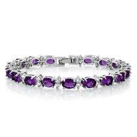 piedras moradas gemas al por mayor-Gem Stone King 20.00 Ct Oval Ronda Color púrpura Cubic Zirconias CZ pulsera de tenis de las mujeres 7 pulgadas de joyería fina para las mujeres