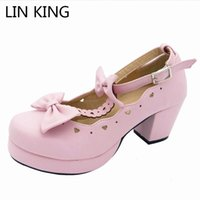 Wholesale princess woman dress shoes resale online - LIN KING Sweet Pu Women Pumps Buckle Bowtie Lolita Princess Cosplay Party Shoes Female Kawaii Round Toe High Heel Platform Shoes