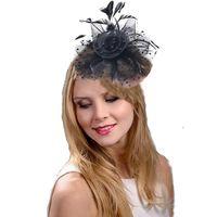 tüy tiaras saç aksesuarları toptan satış-Amazon Feather başlıklı el yapımı gelin saç aksesuarları yeni nesil taç şapka dans topu kafa çiçek örgü