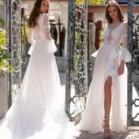 Wholesale net sleeves wedding dress for sale - Group buy 2019 See Through Long Sleeve A Line Wedding Dresses Butterfly Spot Net Split Side Sexy Beach Bridal Dress With Covered Buttonns