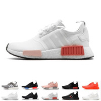 Wholesale tri shoes resale online - NMD R1 Primeknit Running Shoes Men Women Triple Black White OG Classic Tri Color Grey Oreo Japan Red Sports Sneakers Size