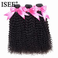 Wholesale chinese kinky curly hair weave resale online - 2020 New ISEE HAIR Bundles Kinky Curly Hair Weaves Remy Human Hair Extension Natural Color Brazilian Weave Bundles