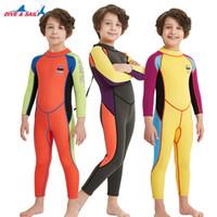 neopren-badeanzug ein stück großhandel-Kinder-Neoprenanzug Dive Sail 2.5MM Neoprenanzug Kids for boys girls Keep Warm Einteiliger Badeanzug mit langen Ärmeln und UV-Schutz