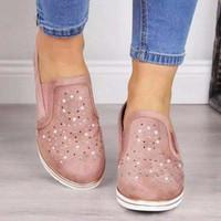 sandalias de tacón bajo cuñas al por mayor-Diseñador de zapatos de la moda de los holgazanes de la plataforma de corte bajo Pisos sandalia de malla transpirable Formadores cuña talón plano de zapatos Casual Tamaño 36-43 por mayor