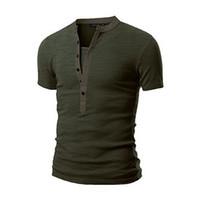 camiseta do exército slim venda por atacado-Camisa dos homens V Neck Botão Muscle Casual Slim Fit Manga Curta Sólida T-Shirt Do Exército Verde Preto Tops Tshirts