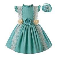 robe de filles de fleur vert menthe achat en gros de-Pre-vente filles menthe vert robe de princesse robe jaune fleur imprimer des vêtements pour enfants avec des chapeaux d'été bébé tissu G-dmgd201-c139 J190612