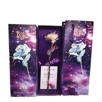Wholesale flower gift for love online - High Grade Single K Plating Golden Foil Rose For Christmas Valentine Day Classical Artificial Flower Love Gift Box Color ky Ww