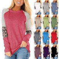 colarinho de maternidade venda por atacado-16 cores Maternidade Tees listrado Leopard retalhos T-shirt para Collar Mom redondo mangas longa Tops Maternidade Roupa M867