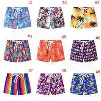 placas de natação para crianças venda por atacado-Crianças Impresso Shorts 13 Estilos de Verão Casual Praia Crianças Calções de Cordão Board Boy Calças de Banho Troncos de Natação 120 pcs OOA6336