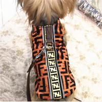 ingrosso cadono i bandanas del cane invernale-Fashion F Lettera Animali Gilet Tide Marchio Traspirante Pet Tops Outdoor Personalità Design Teddy Schnauzer Camicie Set guinzagli