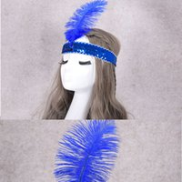 pena do festival venda por atacado-Eco-Friendly Ostrich Feather Headband cocar para o partido Festival Flapper Feather Headband Flapper Lantejoula Charleston Costume Headband
