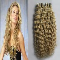 renkli atkı tüyü toptan satış-Bant İnsan Saç Uzantıları 100g kinky kıvırcık Cilt Atkı Sarışın İnsan Saç Remy Renkli Saç Uzantıları 40 adet