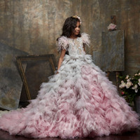 Wholesale ombre for black girls for sale - Group buy Ombre Feather Ball Gown Flower Girl Dresses For Wedding Beaded Bateau Neck Appliqued Toddler Pageant Gowns Tulle Tiered Kids Prom Dress