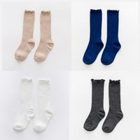 Wholesale cotton candy baby sock online - Children Socks Children Candy Colors Stringy Selvedge Stockings Baby Stripe Middle Tube Breathable Sweat Lace Socks