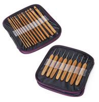 ingrosso i ganci dell'uncinetto liberano il trasporto-Da dhl o ems 50 set 20 pz in 1 set Bamboo Crochet Hooks Weave Needles Set con Custodia Spedizione Gratuita