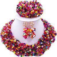 conjuntos de jóias de senhora africana venda por atacado-Hot Sale Partido Africano Multicolor e Festival Evening Contas de Cristal Conjunto de Jóias para senhoras 12C-BZ-18