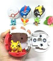 mini pelotas de juguete al por mayor-Bola explosiva muñecas lindas Pikachu 5 cm mini figuras de acción Esencia de árbol rana zorro 7 cm bola de deformación juguetes para niños