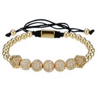 weißgold armbänder für männer großhandel-Zirkonia Armband Herren Luxus Modische Retro Bronze Perle Geflochtenes Armband mit 2 Diamanten und 5 White Diamond Kugeln