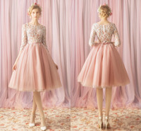 Wholesale nude tulle cocktail dress resale online - Elegant Lace Dresses Evening Wear Party Formal Dress Gowns Knee Length Illusion Long Sleeves Sequins Homecoming Cocktail Dress Tulle Cheap