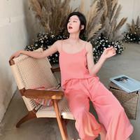 rosa nachtklamotten großhandel-2019 Sommer Festival neue Hosenträger weites Bein Hosen Damen Anzug Pyjamas Sexy Home Kleidung Pijama Verano Pink Night Suit Pyjamas