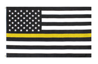 Wholesale drivers safety for sale - Group buy 3x5Fts Gold Emergency Dispatchers Truck Tow Drivers Recovery Public Safety Security Guards Loss Thin Yellow Line flag