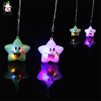 ingrosso stelle lampeggianti di natale-4 colori LED Smile Star Toy Flash Light Toy accessori per il telefono di Natale accessori a Led Giocattoli