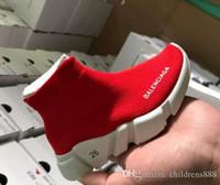 boy high top shoes großhandel-Mode Baby Kinder Schuhe Socken Stiefel Kinder Slip-On Casual Wohnungen Geschwindigkeit Trainer Turnschuhe Junge Mädchen High-Top Laufschuhe
