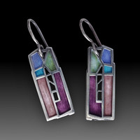Wholesale mixed colorful earrings resale online - Multi colors Mixed Dripping Oil Geometric Cute Earrings For Women Boho Colorful Splice Statement Earrings Pendientes Z4D373