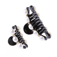 ingrosso forcelle di cristallo nere-1 Pz Black Claw Clip di capelli Crystal Pearl Plastics For Women / baby Party Festival Rhinestone Hairpin 2 Sizes Hair Band Accessories