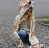 Wholesale kid crochet shawls resale online - 2 in scarf cap Kids Infant Winter Warm Knitted Hats cloak Children cartoon crochet Hat Colors tassel shawl C964